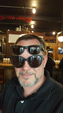 DH with DDIL's sunglasses on with his... We thought he looked like a bug. LOL